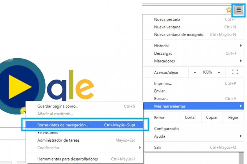 Anexo 1 Borrar datos de navegación Chrome