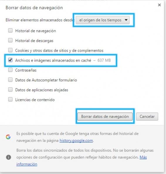Anexo 2 Borrar datos navegación Chrome
