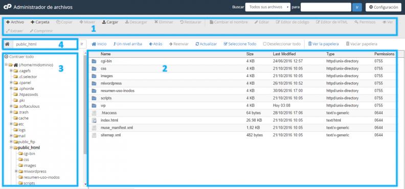 Anexo 3 Secciones del administrador de archivos