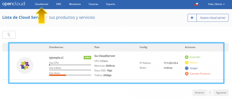 Anexo 4 Seleccionar CloudServer