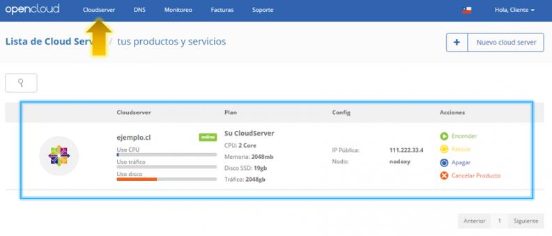 Anexo 2 Seleccionar CloudServer