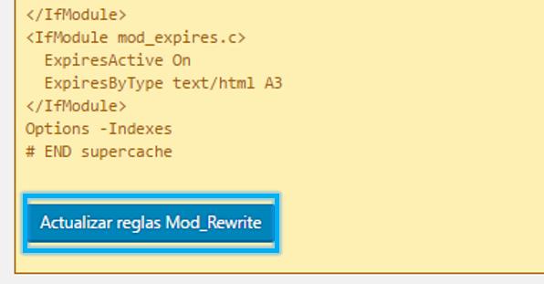 Anexo 13 Actualizar reglas modrewrite